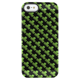 Glückliches Kleeblatt-Muster, Schwarzes und Grün Durchsichtige iPhone SE/5/5s Hülle