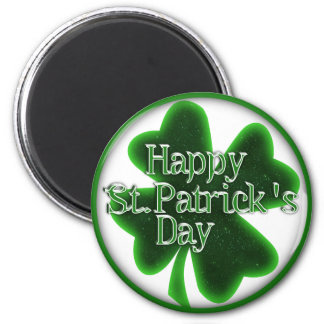 Glückliches Kleeblatt St. Patricks Tages Runder Magnet 5,7 Cm