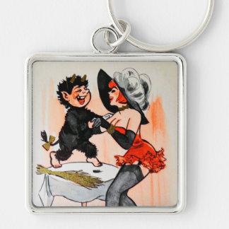 Glückliches Krampus mit Temptress-Vintagem Schlüsselanhänger