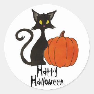 Glückliches Kürbis-Gastgeschenk schwarzer Katze Runder Aufkleber