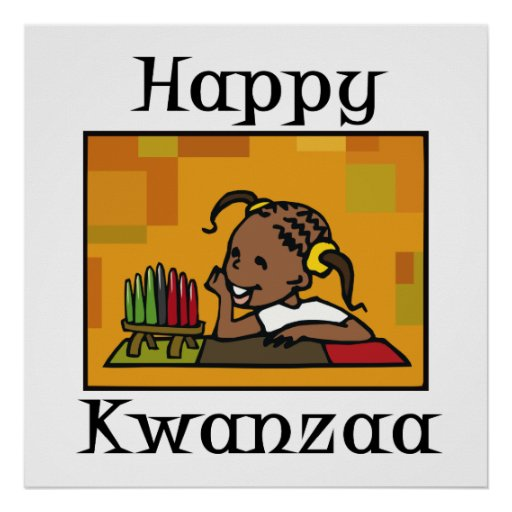Glückliches Kwanzaa-Mädchen Kinara Plakat
