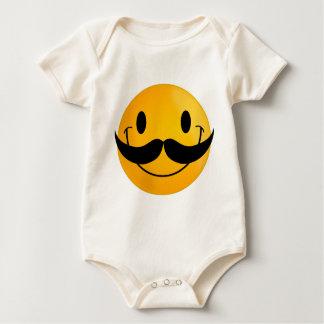 glückliches Lächeln des Schnurrbartsmiley Baby Strampler