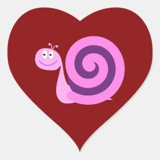 Glückliches lächeln rosa u. lila Herz-Aufkleber