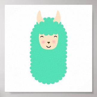Glückliches Lama Emoji Plakat