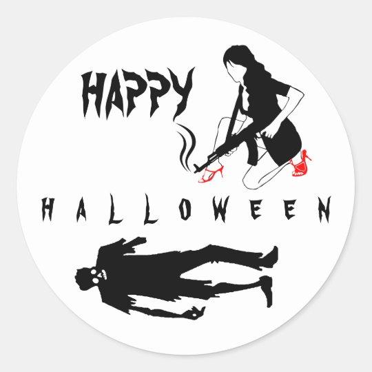 Glückliches lustiges Chic Halloweens und Runder Aufkleber