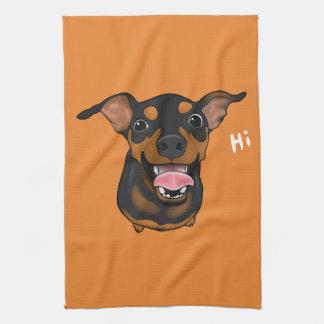 Glückliches Miniaturpinscher-minimales Handtuch