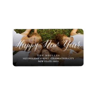 Glückliches neues Jahr-einfache moderne Adressaufkleber