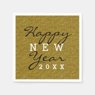 Glückliches neues Jahr-GoldGlitzer Papierserviette