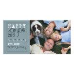 Glückliches neues Jahr-Spaß-Skizze-blaues Schwarz- Foto Karten