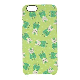 Glückliches niedliches Frenchie an St Patrick Tag Durchsichtige iPhone 6/6S Hülle