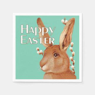 Glückliches niedliches Häschen Ostern und Serviette