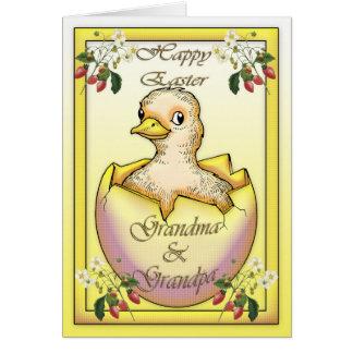 Glückliches Ostern-Küken mit Ei, für Großeltern Karte