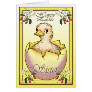 Glückliches Ostern-Küken mit Ei, für Schwester Karte