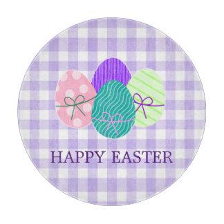 Glückliches Ostern-Land-Lavendel-Gingham-Muster Schneidebrett