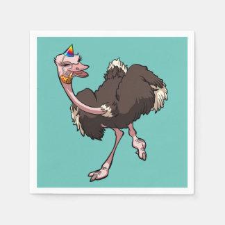 Glückliches Ostrich-Tanzen im Party-Hut-Cartoon Papierserviette