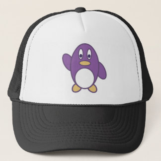 Glückliches Pinguin-Wellenartig bewegen Truckerkappe