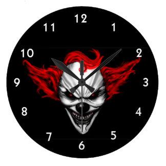 Glückliches schlechtes Clown-Rot-Haar Große Wanduhr