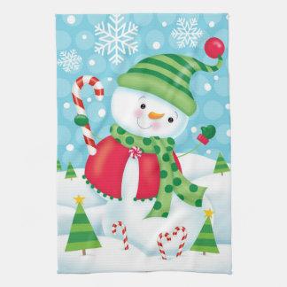 Glückliches Schneemann-Geschirrtuch Handtuch