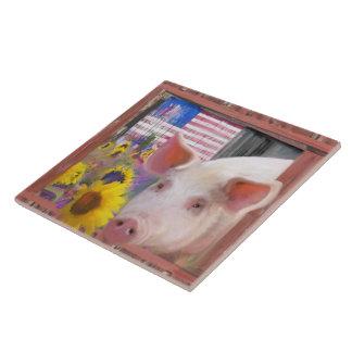Glückliches Schwein 2 von Westmarin Große Quadratische Fliese