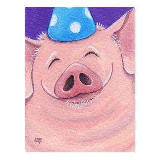 Glückliches Schwein, das eine Postkarte