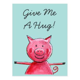 Glückliches Schwein - geben Sie mir eine Postkarte