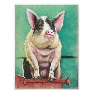 glückliches Schwein in der Pastelltiermalerei Fotografischer Druck