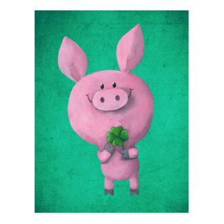 Glückliches Schwein mit glücklichem vierblättriges Postkarte