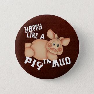 Glückliches Schwein Runder Button 5,7 Cm