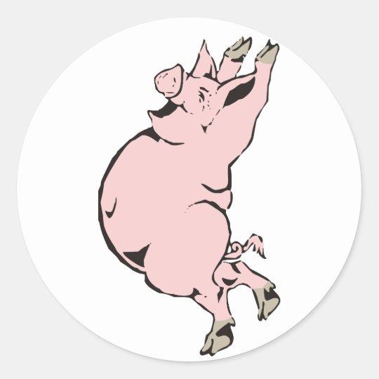 glückliches Schwein Sau happy pig hog Runder Aufkleber