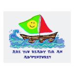 Glückliches Segelboot, zurück zu Postkarten