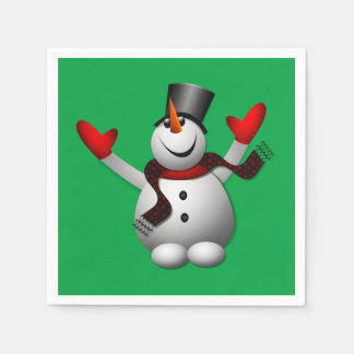 Glückliches Snowman-Feiertags-Party Papierserviette