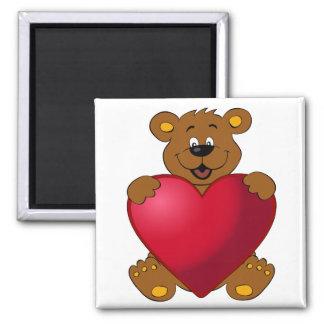 Glückliches teddybear mit Herz-Cartoon Quadratischer Magnet