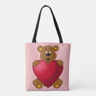Glückliches teddybear mit Herz-Cartoon Tasche