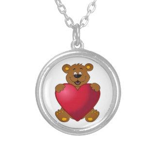 Glückliches teddybear mit Herz-Cartoon Versilberte Kette