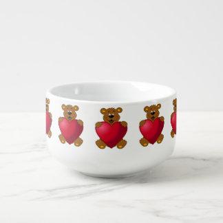 Glückliches teddybear mit Herz-Cartoonmädchen Große Suppentasse