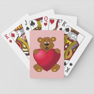 Glückliches teddybear mit Herz-Cartoonmädchen Spielkarten