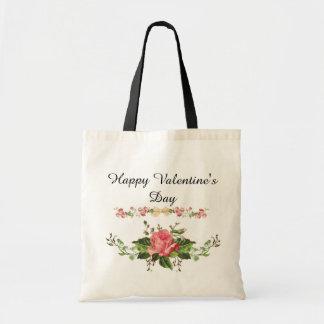 Glückliches Valentinstag-Blumenmuster Tragetasche