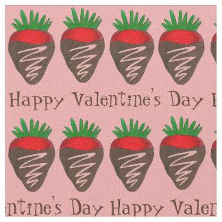 Glückliches Valentinstag-Schokoladen-Erdbeergewebe Stoff