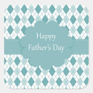 Glückliches Vatertags-Aufkleber-, Grünes und Quadratischer Aufkleber