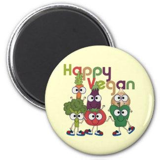 Glückliches veganes runder magnet 5,1 cm