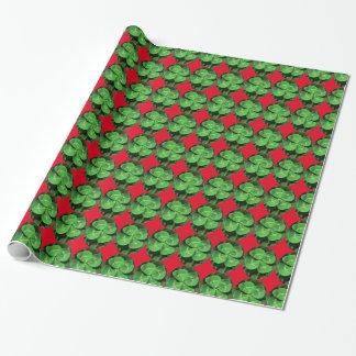 Glückliches vierblättriges Kleeblatt Geschenkpapier