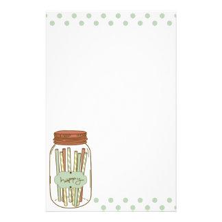 Glückliches Weckglas und Strohe stationär Briefpapier