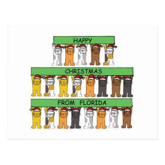 Glückliches Weihnachtskatzen Floridas Postkarte