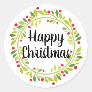 Glückliches WeihnachtsKranz-Karten-und Runder Aufkleber