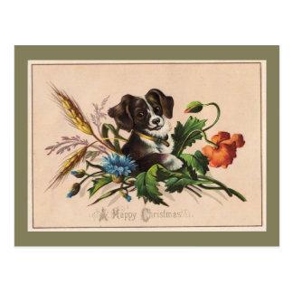 Glückliches Weihnachtsniedlicher HundeVintage Postkarte