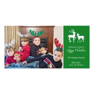 Glückliches Weihnachtsren-Foto-Karten (Grün) Karte