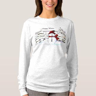Glückliches Winter-Schneemann-T-Shirt T-Shirt