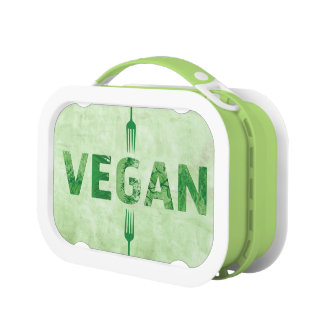 Glückliches Zitat der veganen Text-Kunst - Gabeln Brotdose