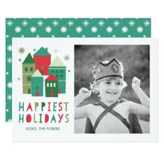 Glücklichste Feiertags-Häuser rot und grünes 12,7 X 17,8 Cm Einladungskarte