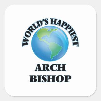 Glücklichster der Bogen-Bischof der Welt Quadratischer Aufkleber